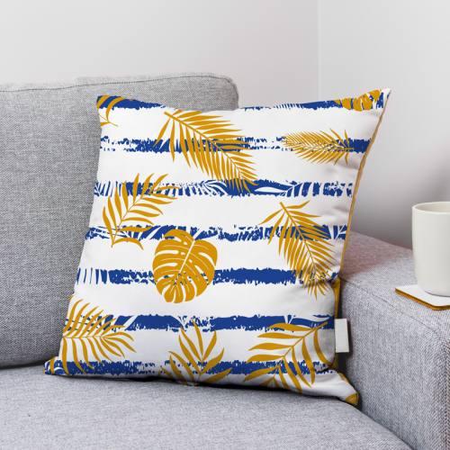 Velours ras écrue motif feuille de palmier jaune et bandes bleues