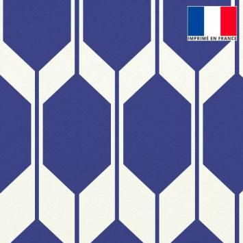 Velours ras écrue motif forme géométrique bleu majorelle