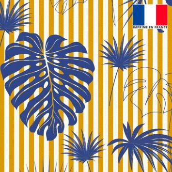 Velours ras écrue motif palme bleu majorelle à rayures jaunes