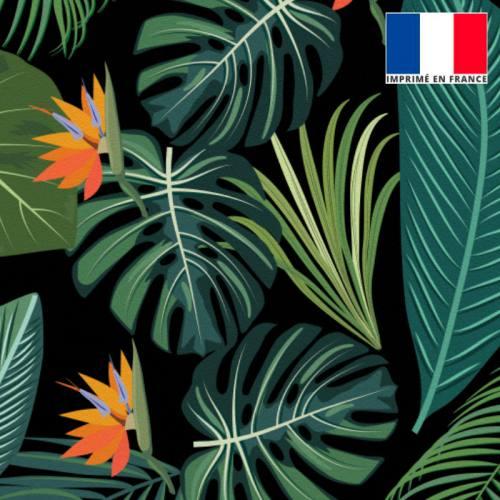 Velours ras noir imprimé jungle et oiseau du paradis
