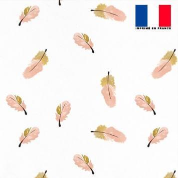 Mousseline écrue motif plume rose et beige