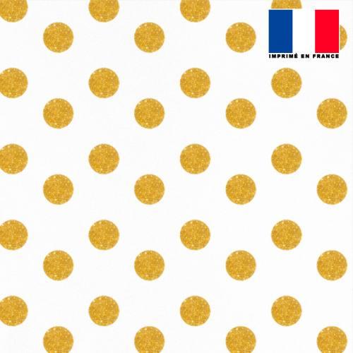 Mousseline crêpe écrue motif pois doré