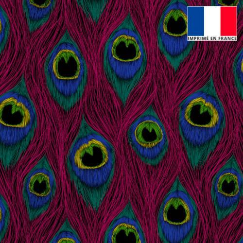 Velours ras fuchsia imprimé plume de paon dessin