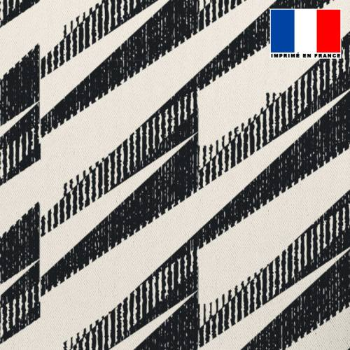 Tissu occultant grège motif hachures noires