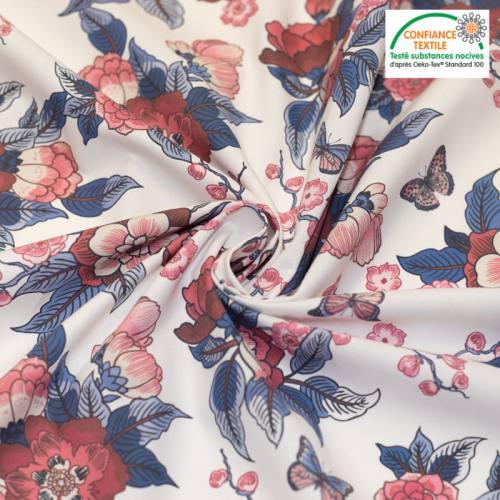 Coton écru motif fleur bordeaux prestbury