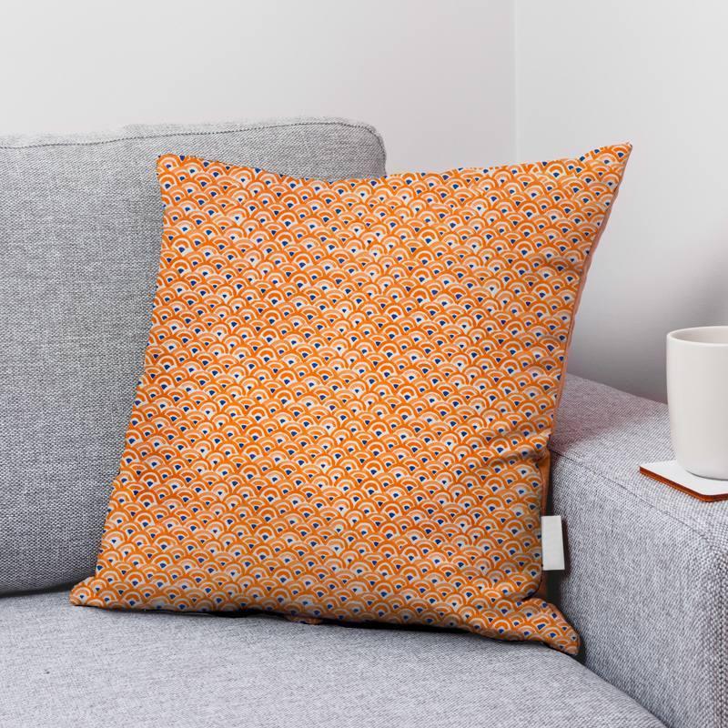 Coton écru motif demi-cercle orange et bleu