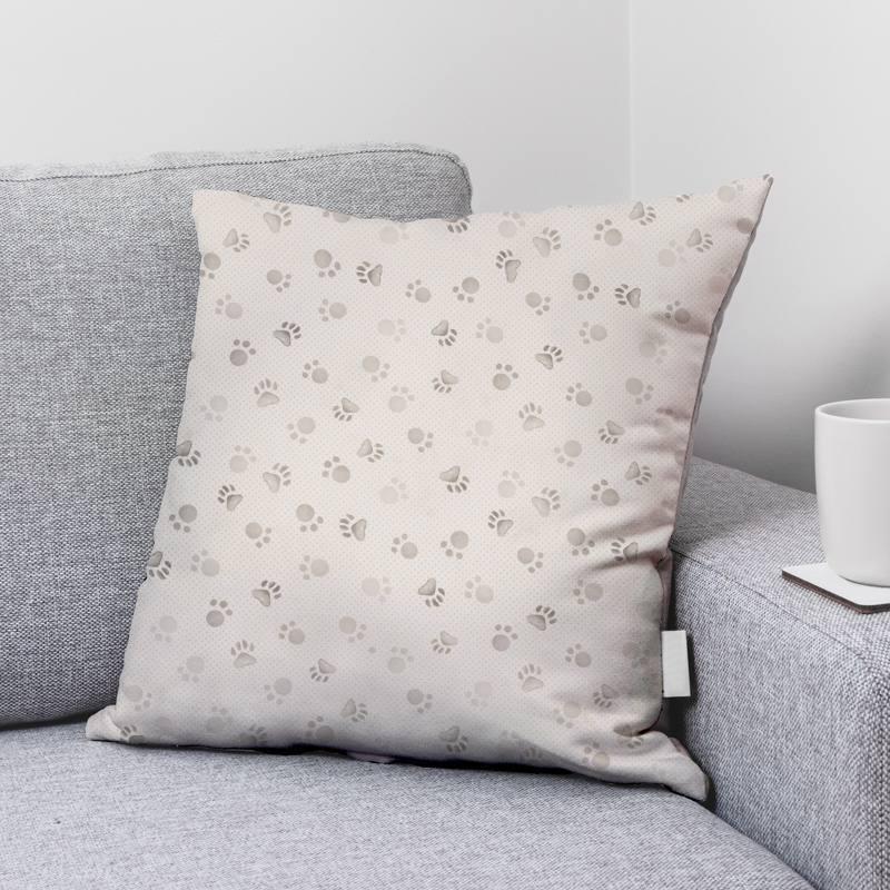 Coton écru motif patte d'ours grise