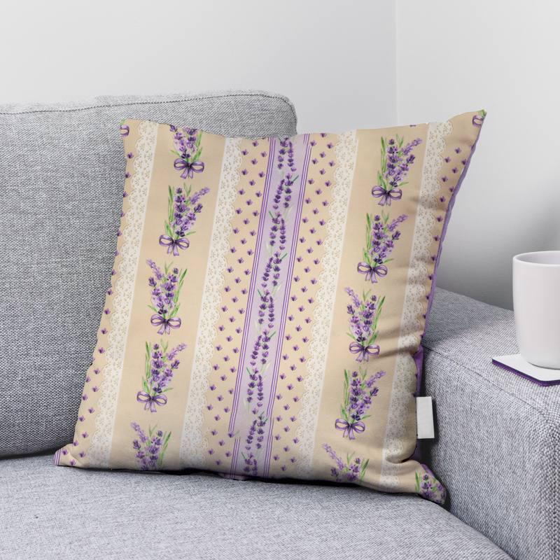 Coton beige motif effet dentelle et lavande