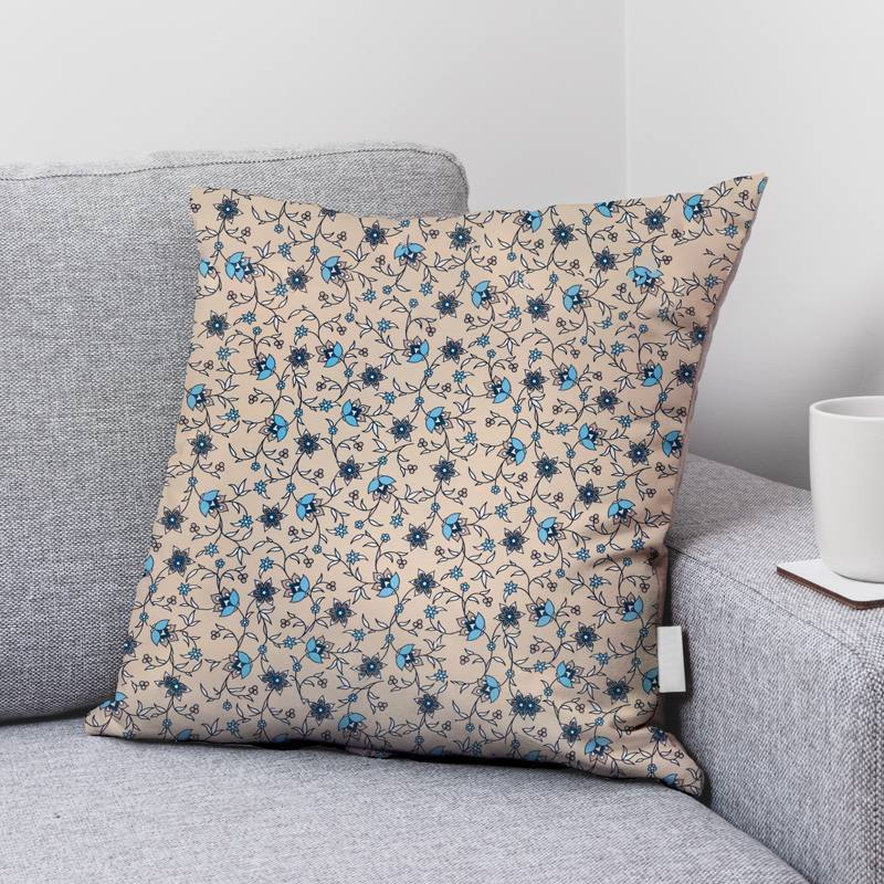 Coton grège motif fleurs bleues bastide