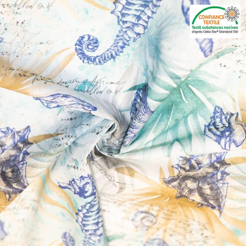 Coton vert motif marin effet aquarelle