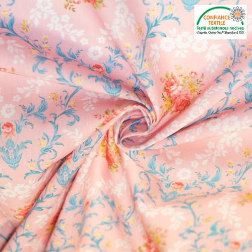 Coton vieux rose motif fleur baroque