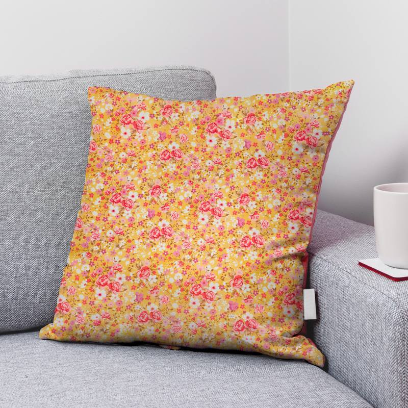 Coton bio jaune maïs motif petites fleurs roses