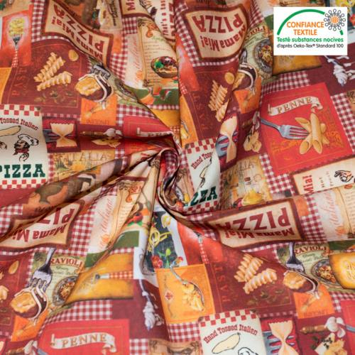 Coton rouge motif pâtes italiennes