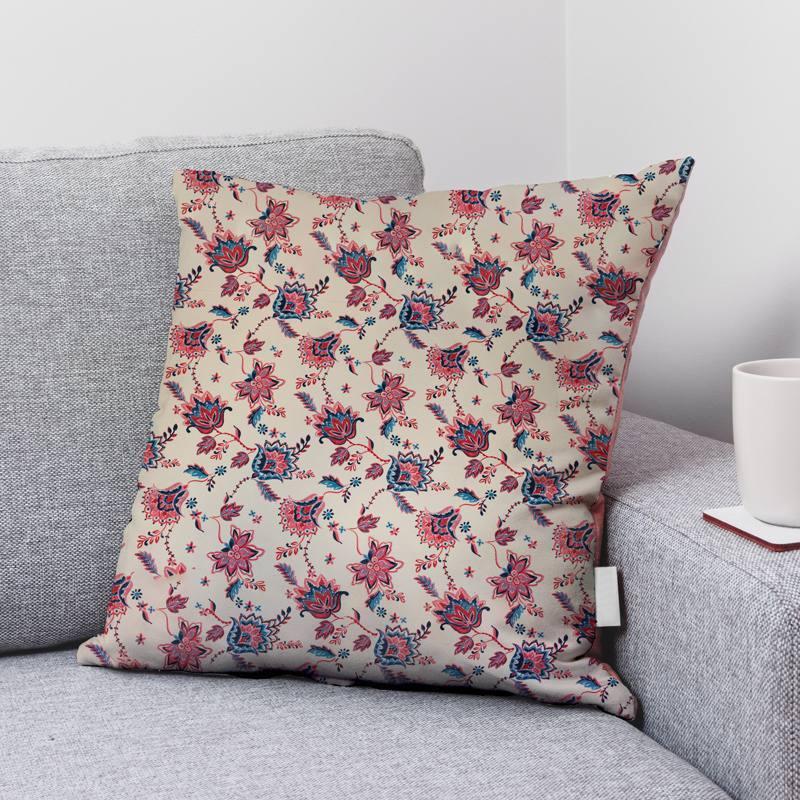 Coton bio crème motif fleur de kerala rouge et bleu horizon