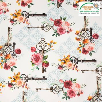 Coton écru motif rose et clé rose