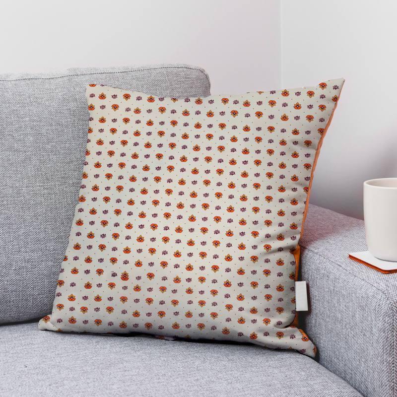 Coton grège motif provençal orange
