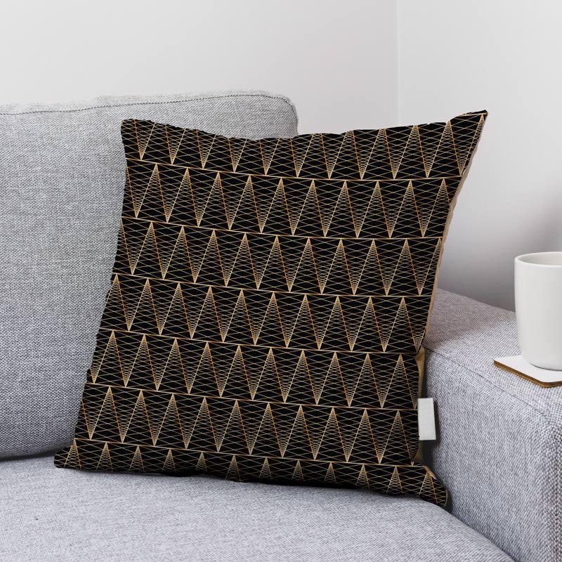 Velours ras noir motif triangle losange doré