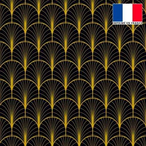 Velours noir imprimé écaille jaune