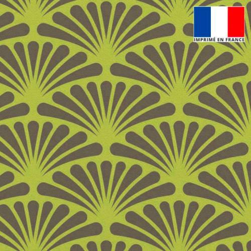 Velours vert lime motif éventail pétale grise