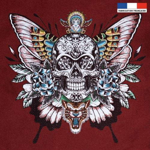 Carré de jacquard rouge motif skull rouge 50X50 cm