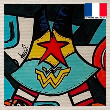 Coupon toile canvas étoile rouge street art - Création Anne-Sophie Dozoul