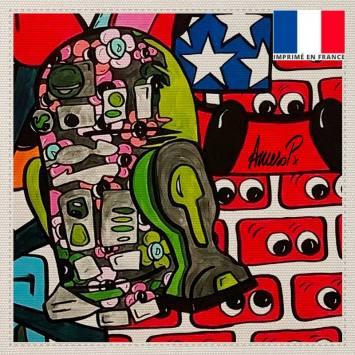 Coupon toile canvas robot street pop - Création Anne-Sophie Dozoul