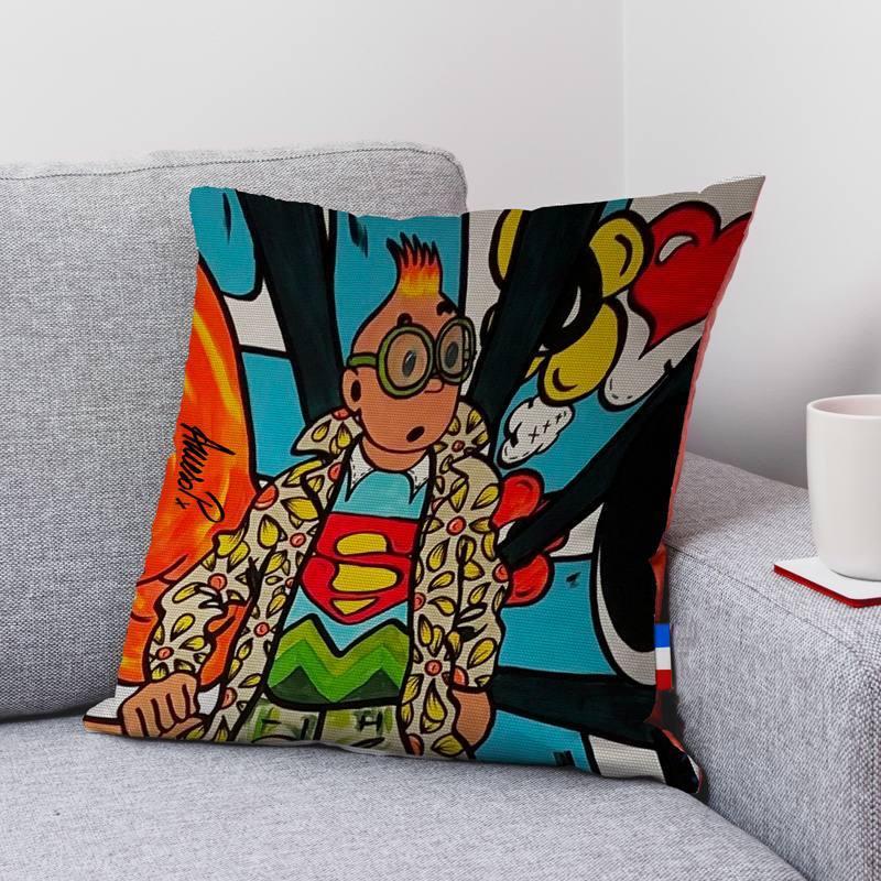 Coupon 45x45 cm motif globe-trotter street art - Création Anne-Sophie Dozoul