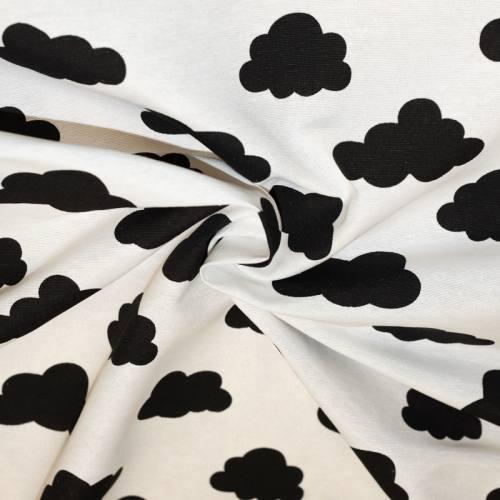 Toile polycoton écrue à motif nuage