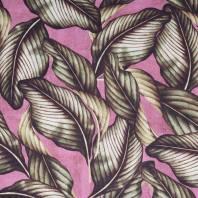 Toile coton prune imprimée feuilles