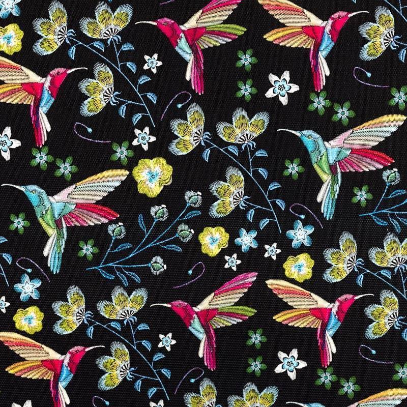 Coupon 50x68cm - Simili cuir noir motif colibri et fleur effet brodé
