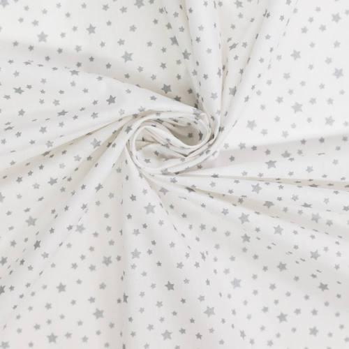 coupon - Coupon 55cm - Coton blanc motif étoile argent dousni
