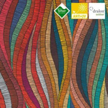 Toile extérieure Téflon motif bande mutlicolore