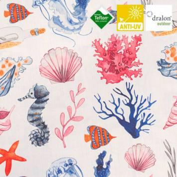 Toile extérieure Téflon écrue motif coquillage et corail