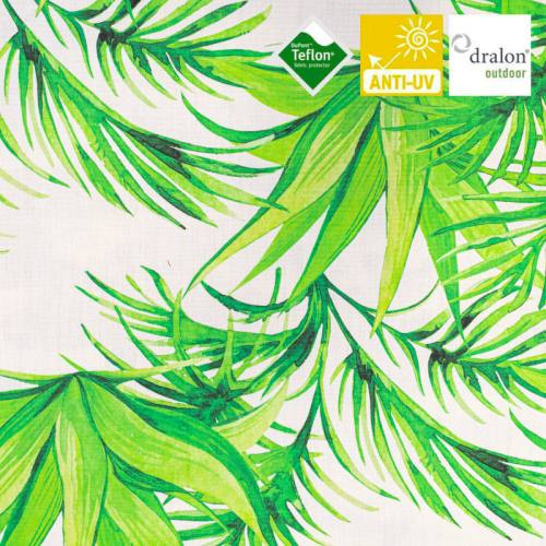 Toile transat blanche imprimée jungle effet aquarelle vert