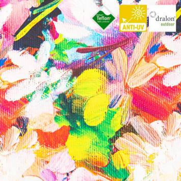 Toile transat multicolore imprimée effet peinture