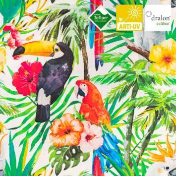Toile transat blanche imprimée feuilles et oiseaux tropicaux