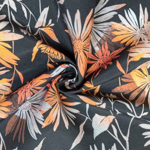 Toile polycoton grande largeur anthracite imprimée fleur orange