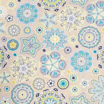 Toile polycoton grande largeur imprimée fleur verte et bleue