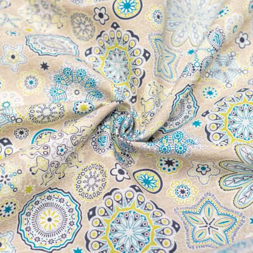 Toile polycoton grande largeur imprimée fleur verte et bleue Oeko-tex
