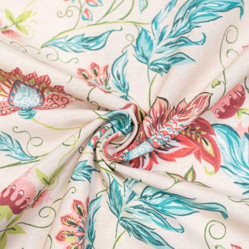 Toile polycoton grande largeur crème imprimée fleur tropicale verte et rose Oeko-tex