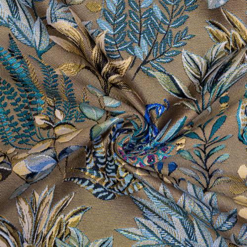 Jacquard mordoré motif feuilles jaunes et bleues
