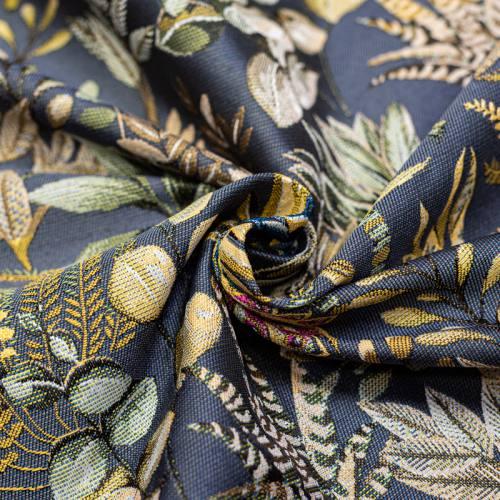 Jacquard bleu argenté motif feuilles beiges et vertes