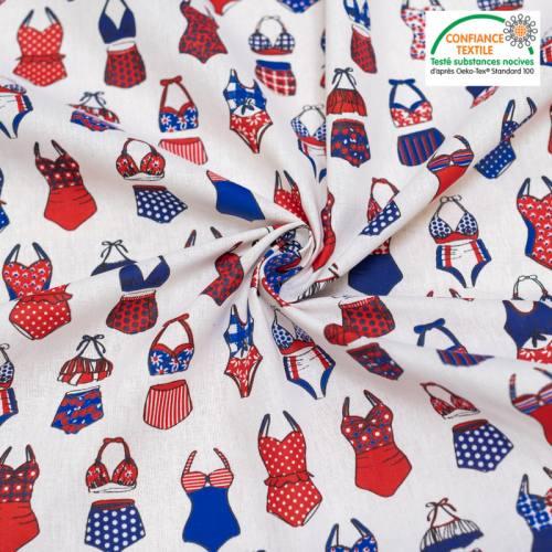 Coton écru motif maillots de bain rouge et bleu