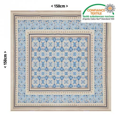 Nappe grège motif fleuri bleu 150X150