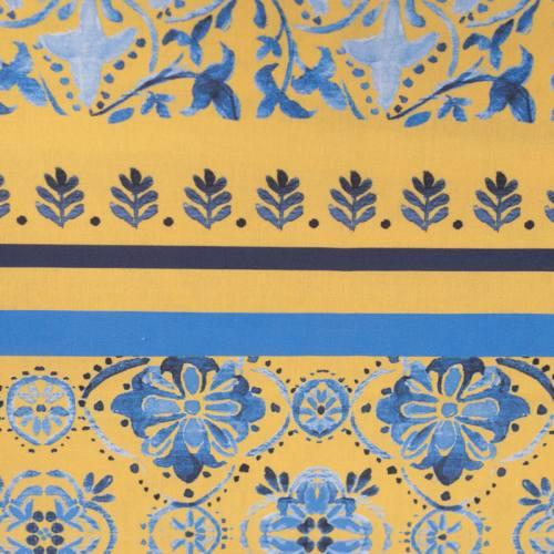 Nappe jaune parfumée à la lavande motif fleuri bleu 150X150