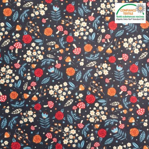 Coton cretonne noir motif champignon des bois