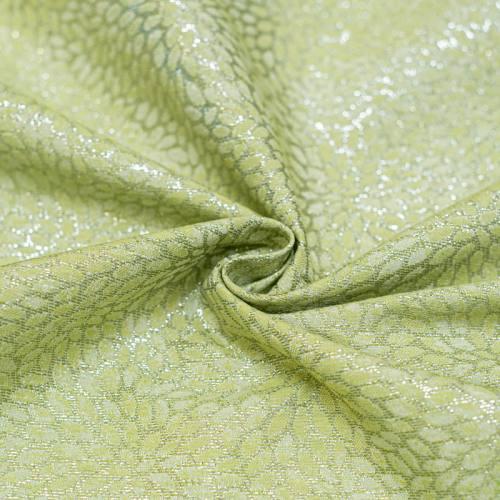 Tissu jacquard vert avec fil argenté