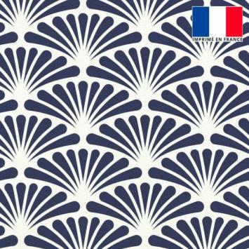 Velours écru motif éventail pétale bleu turquin