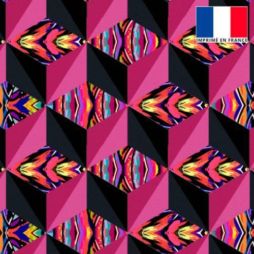 Velours multicolore motif effet 3D rose et noir