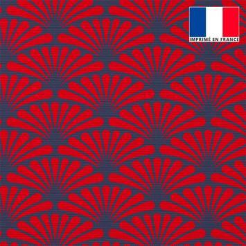 Toile canvas bleu turquin motif éventail pétale rouge